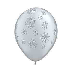 5 x Ballons Qualatex Motif Flocon De Neige Argent Noël 28cm