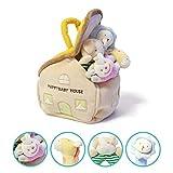 Ensemble de 4 Hochets Peluche pour bébé, jouet de développement et poignée, anneau de dentition et shaker en coton naturel, animaux rembourrés mignons avec sons pour 3, 6, 9, 10, 12 mois, nouveau-né