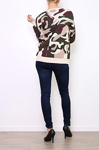 Pull ample à col rond imprimé camouflage Eurelia. Disponible en Kaki Rose Kaki