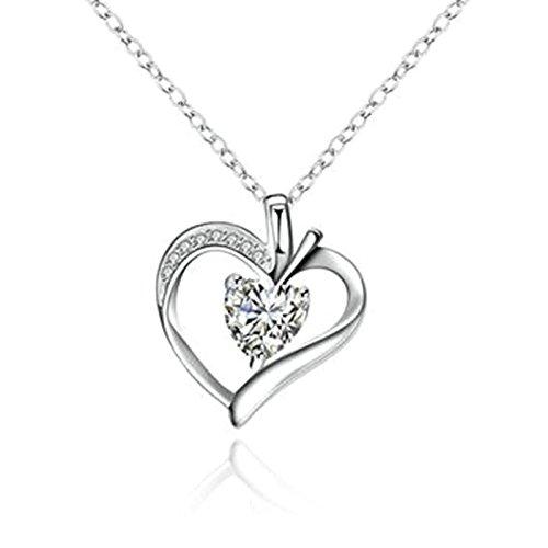 amdxd Jewelry Anhänger vergoldet Ketten für Damen Herren Silber Herz Zirkonia Anhänger -