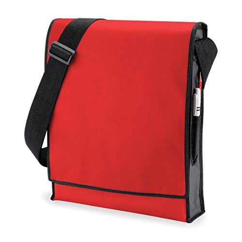 BagBase Borsa Tracolla Verticale Budget vertical messenger bag 32x39x8cm 10L White Black Red/ Black