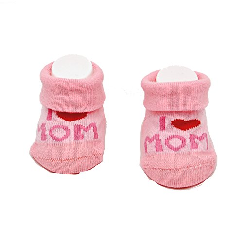 Camano Baby Socken Geschenk Herz Mädchen Girl I Love Mom Baby Shower Neugeborenen Taufe Geburt (Rosa Mom)