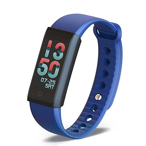 Fitness Armbanduhr mit Herzfrequenz Pulsmesser Kalorienzähler Bluetooth Smart Fitness Tracker mit Schrittzähler/Schlafmonitor/Touchscreen/Vibrationsalarm/Anruf SMS Whatsapp für IOS Android-Blau