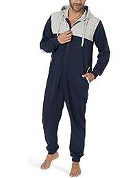 SLOCUHER - Jumpsuit homme en coton, grenouillère manches longues pour homme (une pièce confortable avec fermeture éclair et capuche)