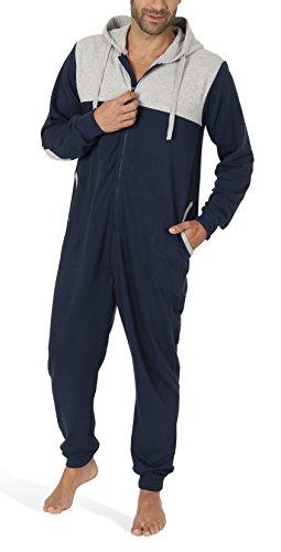 SLOUCHER - Jumpsuit Herren aus Baumwolle, Langarm Onesie für Männer (gemütlicher Einteiler mit Reißverschluss und Kapuze) Navy