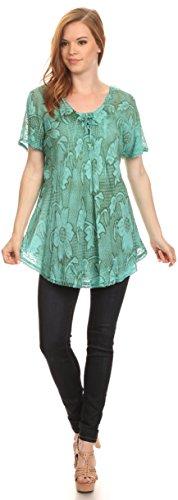Sakkas Maliky large Corset Neck Floral Cap brodé à manches Blouse Top Shirt Seafoam