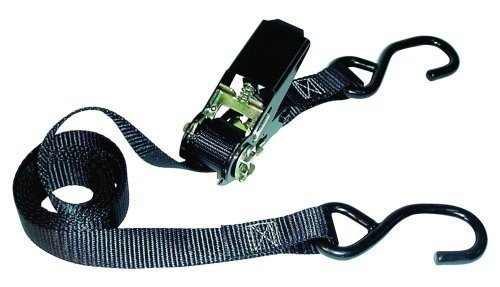 Keeper 05721 2-pk 8' Motorcycle and ATV Tie Down with Ratcheting Buckle, padded handle, w/built in Soft Tie technology and Vinyl Coated S-Hooks by Hampton Products International