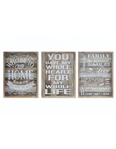 Cuadro decorativo de madera para salón con frase divertida - Happy Home- Hogar y más - A