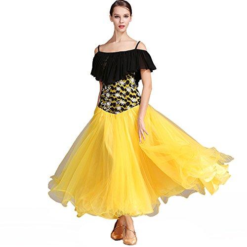 Q-JIU Für Den Ballsaal Kleider Damen Leistung Chiffon Spitze Kunst-Seide Rüschen Kurze Ärmel Hoch Kleid,Yellow,S