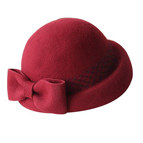 Britischen Stil Woolen Bowknot Mesh Billycock Roll Brim Bowler Hut, Weinrot