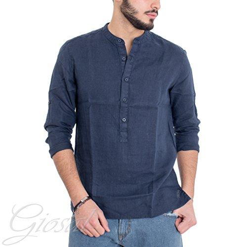 Giosal camicia uomo collo coreano serafino puro lino tinta unita blu slim c1296a-xxl