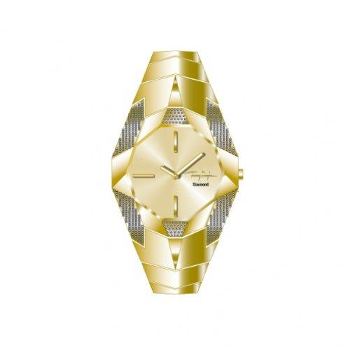 Thierry Mugler 4703404 - Reloj analógico de cuarzo para mujer con correa de acero inoxidable, color dorado