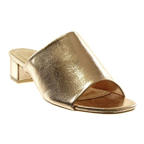 Angkorly Damen Schuhe Sandalen Mule - Slip-On - Glänzende Blockabsatz High Heel 4 cm - Champagner 88-260 T 37