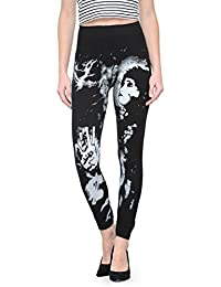 CAMEY Women's Polyester Printed Jegging (LT51_FIN.GIRL, Black, Free Size)