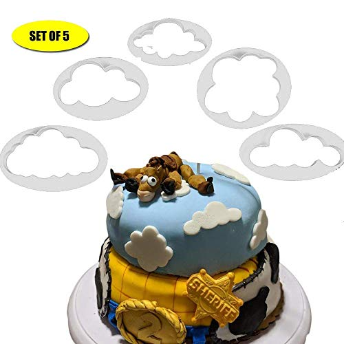 Fluffy Cloud (5Stück) Kunststoff Fondant Cutter Kuchen Form Fondant Zucker Craft Cookies Plunger Cutter Form Kuchen dekorieren Tools by Palker Sky