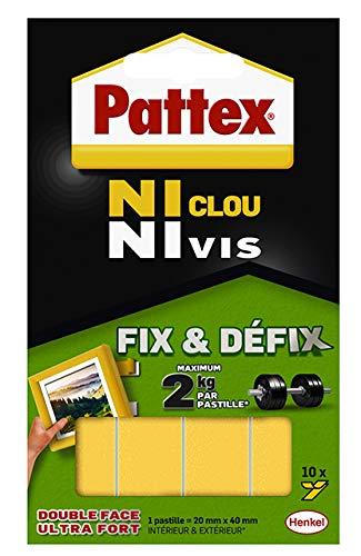 Henkel - Pattex - Ni Clou Ni Vis - Fix & Defix - 9H 686662 - Blister de 10 pastilles de fixation non permanente repositionnable