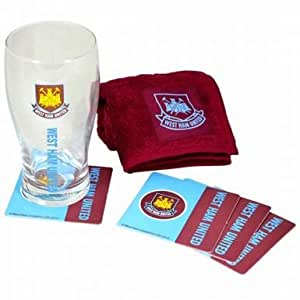 West Ham Utd Pint Glass Mini Bar Set