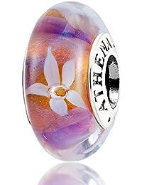 ATHENAIE Original Murano Glass Núcleo de plata 925 Flores de jazmín Dijes Abalorios caber pulseras europeas y collar