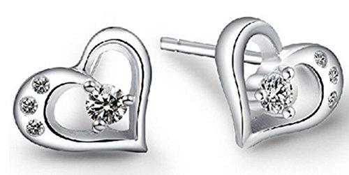 SaySure - S925 Silver Heart-shaped earrings female models (Female Model Kit)