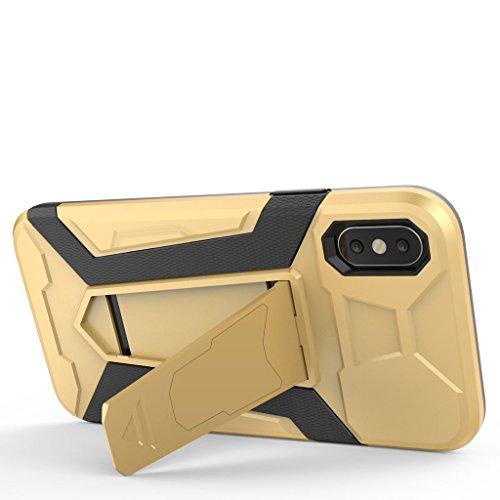 """Coque pour Apple iPhone X , IJIA Bleu 2 en 1 Hybride Armour Case TPU + PC Back Cover Rigide with kickstand Coque de Protection de plein air pour Apple iPhone X (5.8"""") Smartphone Black"""