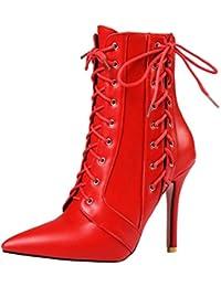 00b734850d242 UH Femmes Chaussures Bottes avec Lacets à Cuissarde Bout Pointu Talons Haut  Aiguilles Fermeture Eclair Sexy