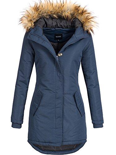 DESIRES Damen Envy Parka Lange Jacke Designer Winter-Mantel mit Kapuze aus hochwertigem Material 1991 Insignia Blue L - Mantel Lange Leder Winter