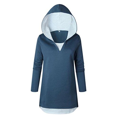 Womens Hoodie Long Tops Hooded Sweatshirt Patchwork Pullover Ladies Blouse