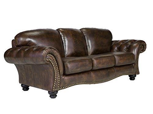 massivum Sofa Chesterfield 225x85x95 cm Echtleder rot