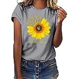 DEELIN Damen Sunflower Print T-Shirt Übergröße Tees Shirt Kurzarmshirt Oansatz Tops Bluse Lose Oberteil Basic T-Shirts