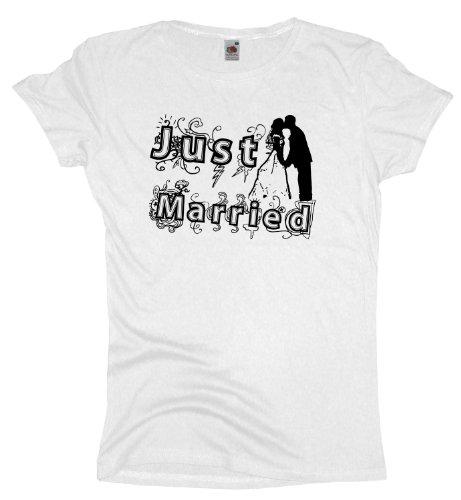 Ma2ca - JGA Just Married - Girlie Damen Jungesellenabschied T-Shirt -white-xxl