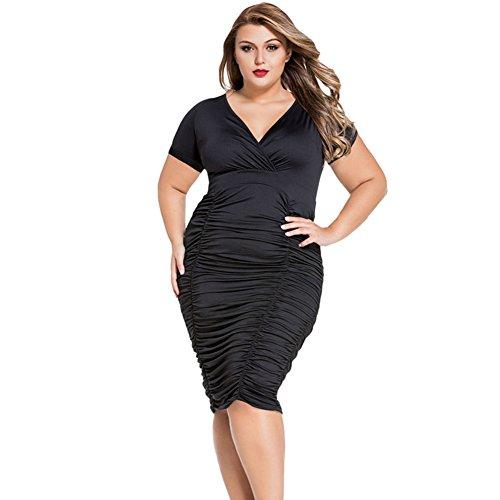 meinice Pleated incurvati Midi Dress Black XXXL