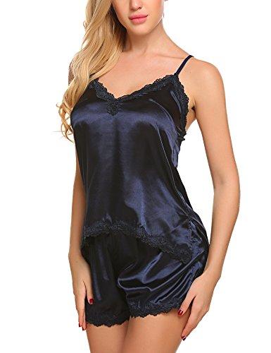 ADOME Damen Nachthemd Sexy Dessous Set Nachtwäsche Negligee Satin Babydoll Zweiteilige Reizwäsche Lingerie mit Shorts B-Marineblau