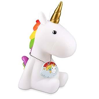 Navaris Lampe LED veilleuse licorne - Lampe de chevet pour enfant et bébé avec changement de couleurs RVB - Design licorne blanche avec pendentif
