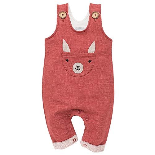 Pinokio - Happy Llama - Overall Baby Mädchen/Jungen - 100% Baumwolle - Latzhose mit Knöpfen Unisex | Ziegelrot Rot | 62,68,74,80,86 (74 cm, Ziegelrot) (Baumwoll Latzhose)