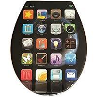 """Siège toilette duroplast modèle """"app"""" avec abattant automatique amovible pour le nettoyage (soft close, descente progression)"""