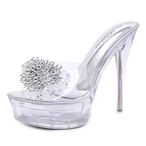 LBTSQ-Ultra-High-Heels Dünnen Absätzen Wasserdicht Transparente Crystal Sandalen Sexy Patchwork Wasser Läuft 14CmFisch Im Mund Pantoffeln 36 Crystal Heels