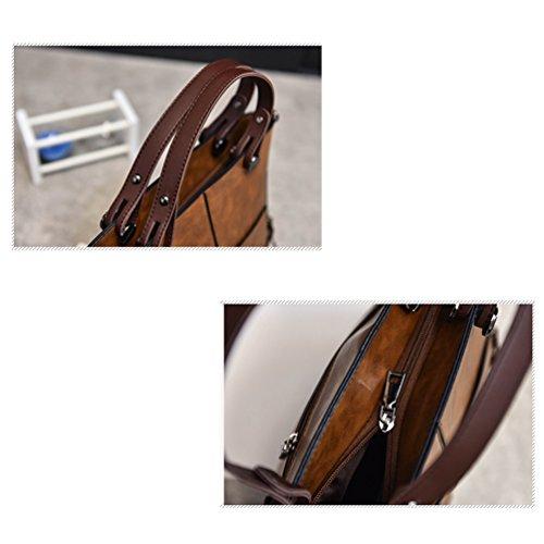 Vbiger Donne Borsa in pelle PU Borsa a tracolla classica Borse Tote elegante(Marrone) Marrone