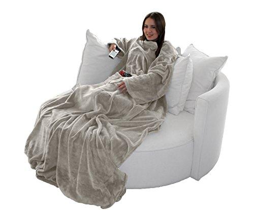 Brandsseller Flauschige TV-Decke mit Ärmeln in Cashmere Feeling - Fußsack und 2 Taschen - Kuscheldecke Tagesdecke - (170 x 200cm, Taupe)