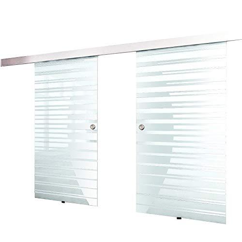 Home Deluxe - Doppelglasschiebetür- Streifendesign und Muschelgriff - Maße: 2 x 90 cm - Verschiedene Größen