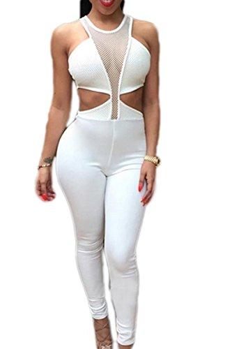 Creux sur Clubwear Bodycon Jumpsuit épreuves féminines white