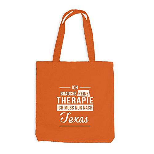 Jutebeutel - Ich Brauche Keine Therapie Texas - Therapy Urlaub USA Orange