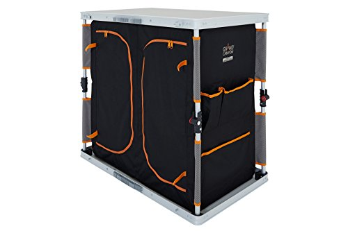 Grand Canyon Wardrobe Single - Camping-Schrank / Kofferschrank, 3 Fächer, faltbar, als Camping-Küche oder zur Aufbewahrung von Kleidung und Utensilien, Aluminium, silber /schwarz, 308026