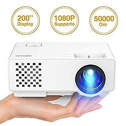 Beamer, DBPOWER 2018 Aktualisiert Mini Beamer Multimedia Heimkino-Video Projektor unterstützt 1080P/USB/VGA/HDMI für Xbox /iPhone /Smartphone /PC,Weiß