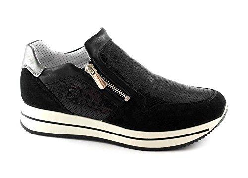 IGI & CO 77737 Schwarze Schuhe der Frauen sports Turnschuhe rutschen auf Reißverschluss Pailletten Nero
