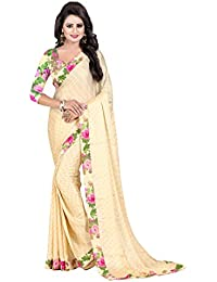 Macube Women's Sartin Chiffon Saree With Blouse Piece (Ms1364_Great Indian Festival Sarees, Multicolor, Free Size)