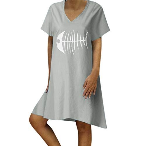 WUDUBE Robe Ete Femme Robe de Soiree, Classique Au Genou Robe de Cocktail Tenue Été Femme Robe de Plage Robe Ceremonie Robes Clubbing Robe Imprimé