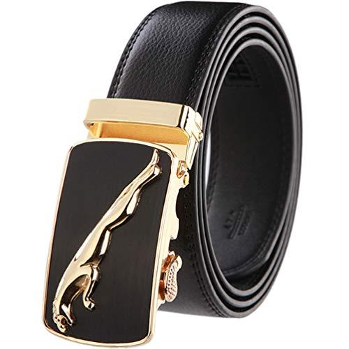ASEVEN Belt Man Automatic Buckle Cheetah Gold / Silver, Genuine Cowhide Belt 106 Cm-127 Cm, Gift box