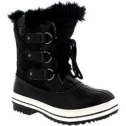df324cc67 Mujer Nieve Bota Nylon Corto Nieve Lluvia Caliente Impermeable Botas -  Negro - 38