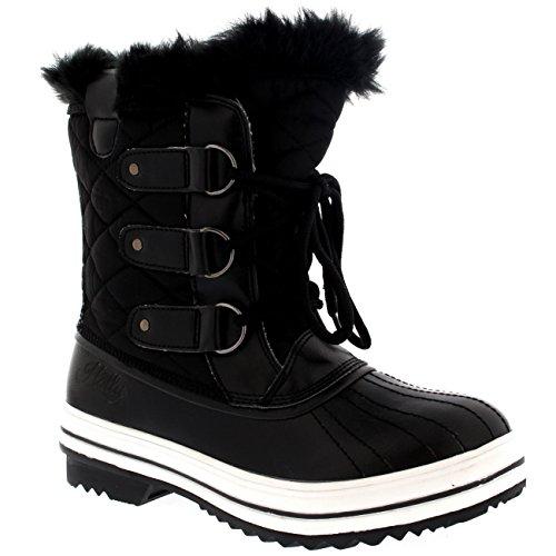 Mujer Nieve Bota Nylon Corto Nieve Lluvia Caliente Impermeable Botas - Negro - 38