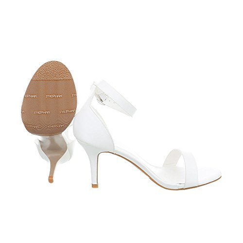 Ital-design Sandali Con Tacco Alto Scarpe Da Donna Penny / Stiletto Sandali Con Cinturino Con Tacco Bianco Ab-91
